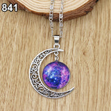 Galactic Glass Alloy Pendant Necklace