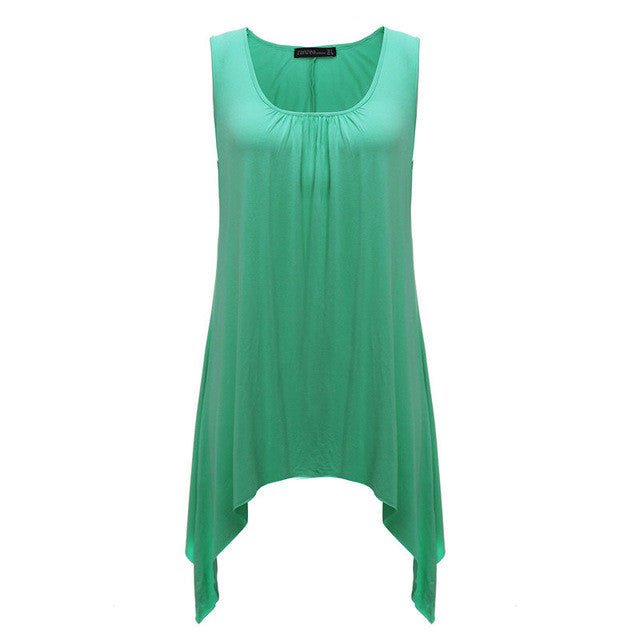 O Neck Sleeveless Casual Solid Shirt