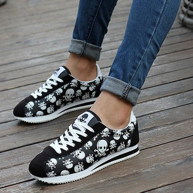 Skull Heads Print Shoes