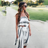 Elegant stripe 2 piece dress