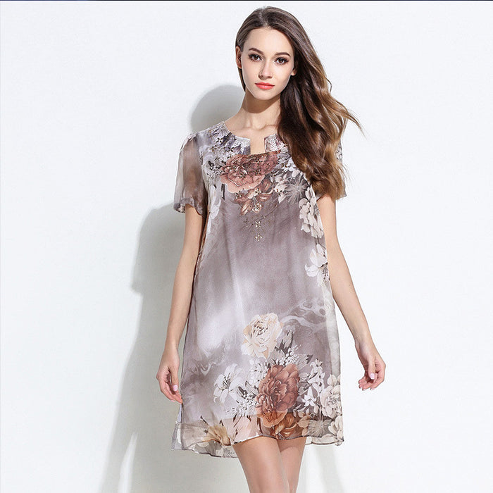 Tee Printed Big Size Chiffon Dress