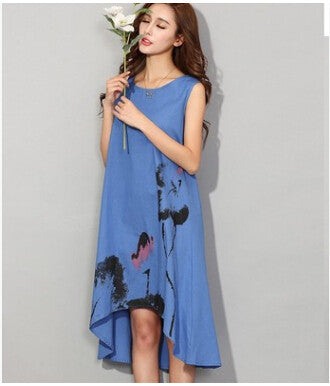 Lotus Printing Cotton Dress