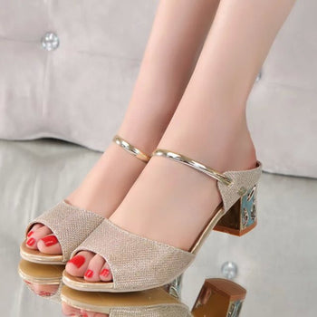 Gold Ankle-Wrap Sandals