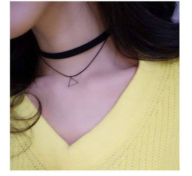 Triangle Pendant Leather Strap Necklace