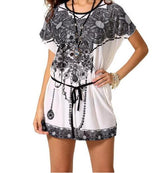 Short sleeve Printing Mini Dress