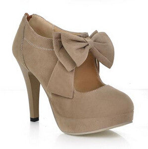 Platform High Heels Bowtie Pumps