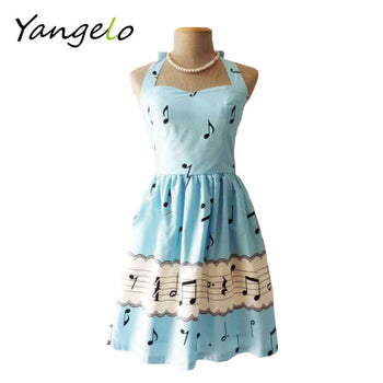 music note printed vintage dress