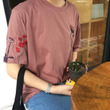Flower Embroidered Cotton T-shirts
