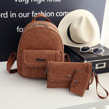 Knitting PU Leather Backpack