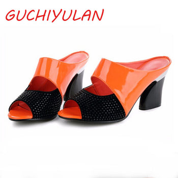 Genuine Leather High-heeled Slippers