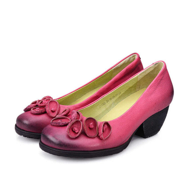 Flower Leather Handmade Pumps