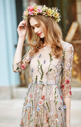 Half Sleeves Embroidery Dress