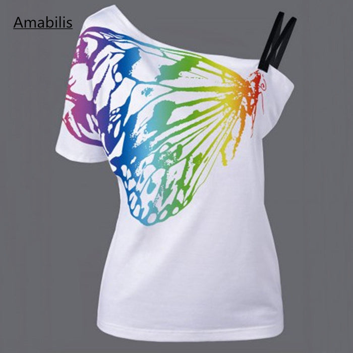 Cotton 3D Butterfly Printing T-Shirt