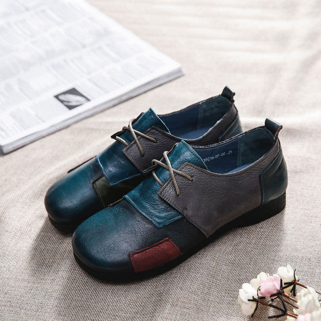 Casual Leather Patchwork Flats
