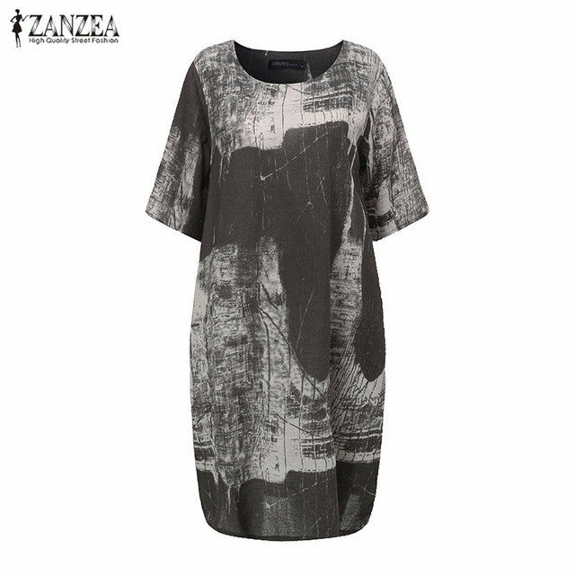 Printed Loose Cotton Dress