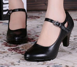 Genuine Leather Black High-Heeled Pumps