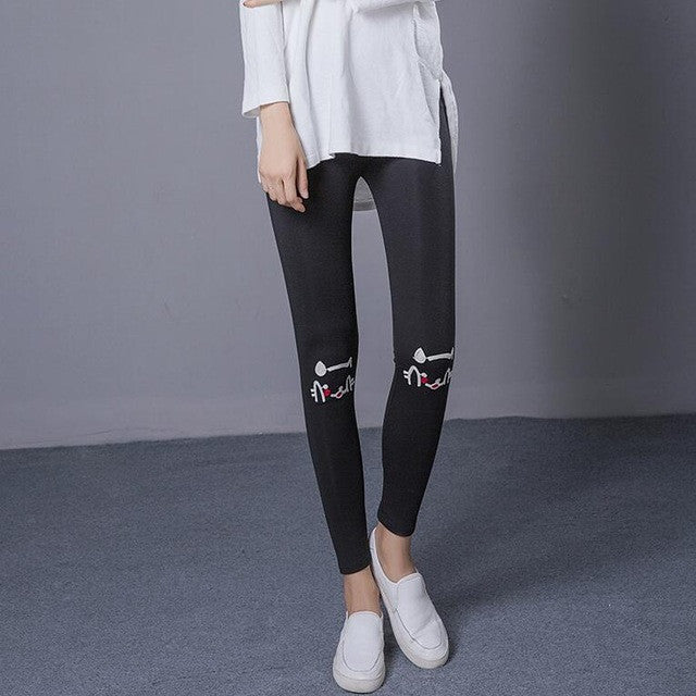 Embroidery Cat Head Legging