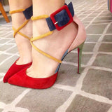 Mixed Ankle Strap Pumps