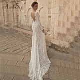 ArtSu  Through Floral V-Neck Elegant Lace Long Dress