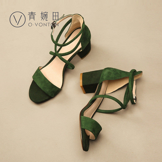 Cross-Tied Thick Heel Pumps