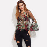 SHEIN Embroidery  Tulle Top