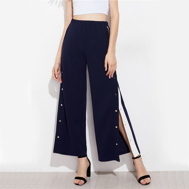 Sheinside Snap Button Contrast Side Pants