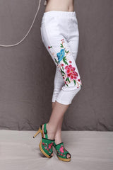 Embroidery Casual Skinny Capri