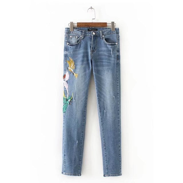 Animal Birds Embroidered Denim Pants