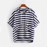 Dotfashion Striped High Low Hooded T-shirt