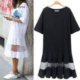White Mesh Short Sleeve T Shirt Dress