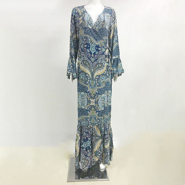 Daddy Chen Bohemian Print Long Sleeve Dress
