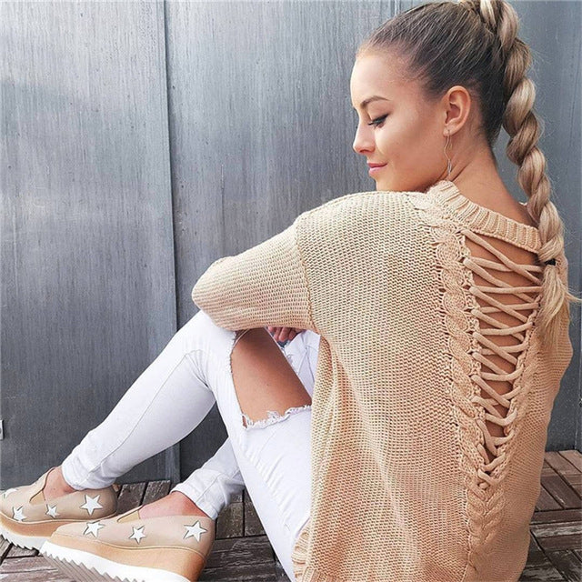 Fuedage  Lace Up Sweater