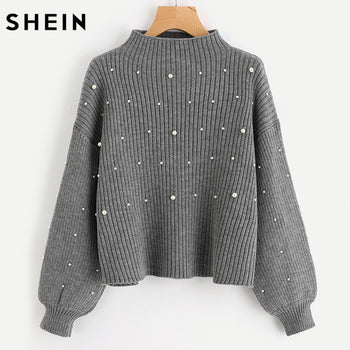 SHEIN Pearl Beaded Rib Knit Jumper