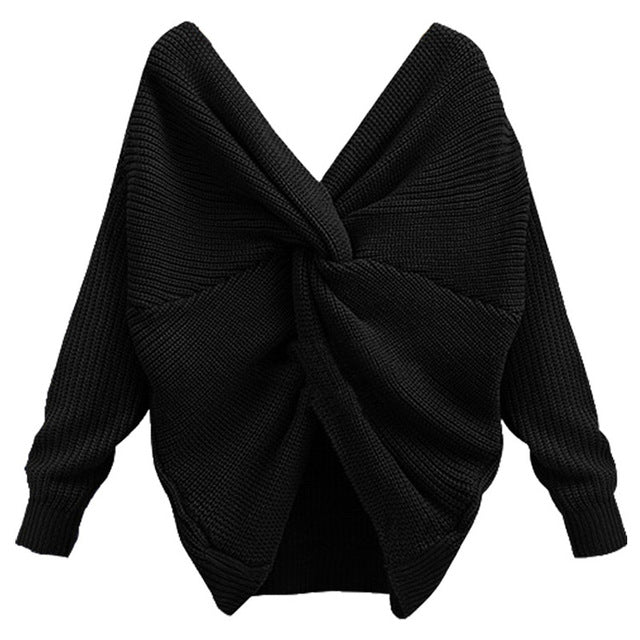 OMCHION  V Neck Tie Up Sweater