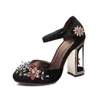 WETKISS Retro Floral Pleuche Shoes