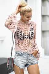 Simplee Sexy flare sleeve lace blouse shirt
