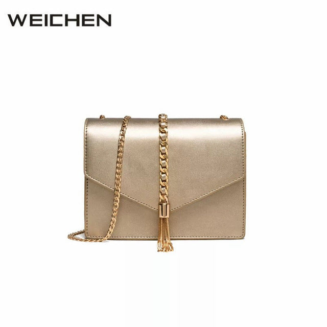 Gold Chain Tassel Female Shoulder Bags