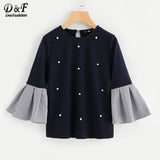 Dotfashion Striped Bell Sleeve Pearl Beadin T Shirt
