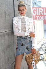 Simplee Sexy white lace flower blouse shirt