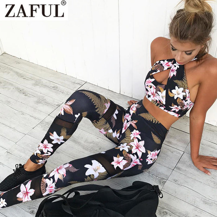 Tracksuit Floral Gym Clothes Camisole Print Patchwork Leggings