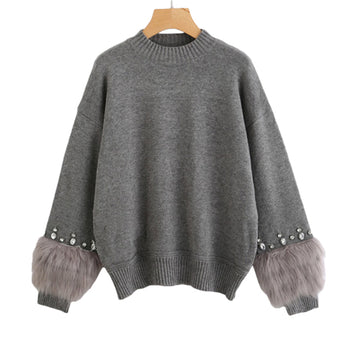 Embellished Cuff Jumper Grey Crew Neck Casual Pullovers