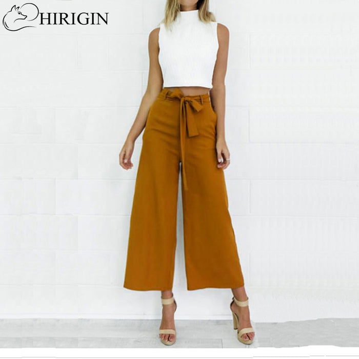 HIRIGIN Women Orange Wide Leg Chiffon Pants