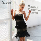 Simplee Sexy strapless tassel party dresses