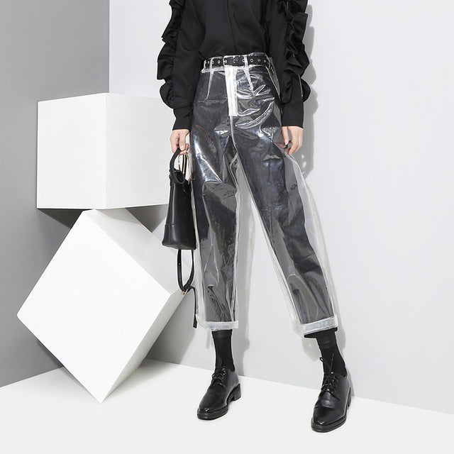 Pattern Korean Style Transparent Transparent Color Pants