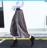 2017 Spring Women Solid Color High Waist Velvet Pleated Skirt Female Vintage Elastic Waist Skirt Free Shipping