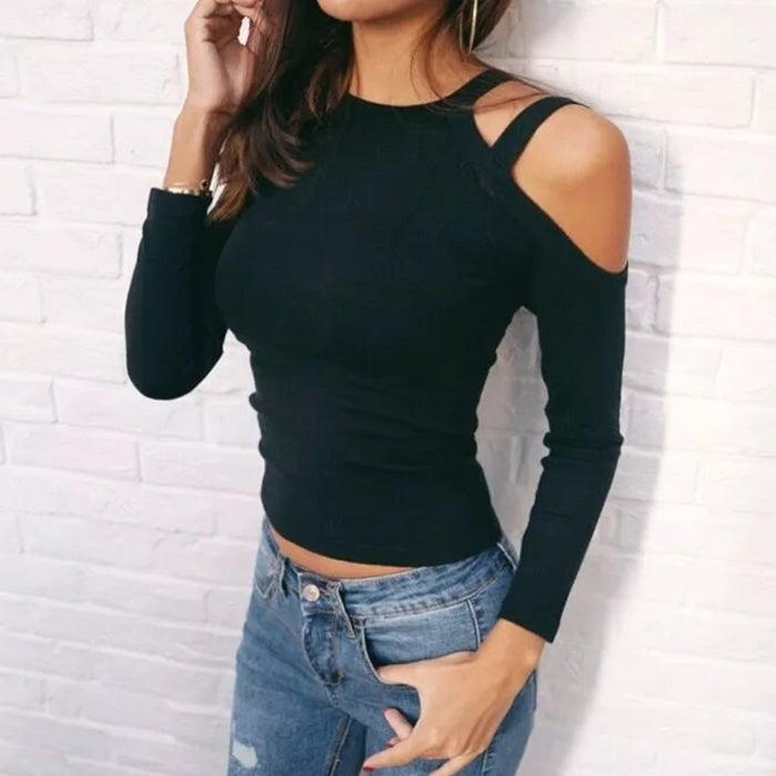 Shoulder Bandage Slim Fit Knitted Crop Tops