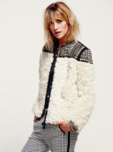 Beading Sequins Faux Fur Jackets and Coats