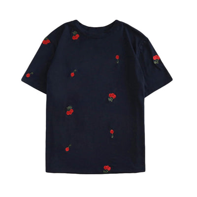Dotfashion Cherry Embroidered T Shirt