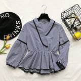 Spring V-neck Casual Blouses Shirts