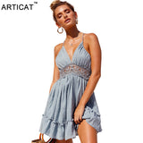 Articat Sexy Lace Backless V Neck Summer Dress